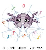 Poster, Art Print Of Spider Dance Music Notes Illustration