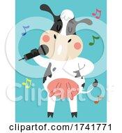 Cow Animal Sing Microphone Illustration