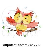 Poster, Art Print Of Owl Singing Branch Music Notes Illustration