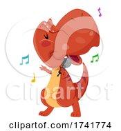 Dinosaur Singing Microphone Illustration