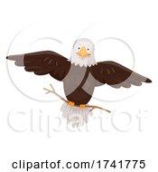 Bald Eagle Hold Stick Flying Illustration