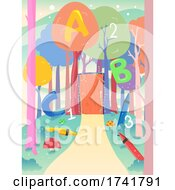 Preschool Forest Theme Door Path Illustration