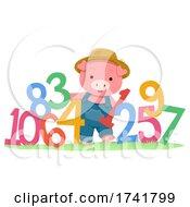 Farm Animal Farmer Pig Numbers Illustration