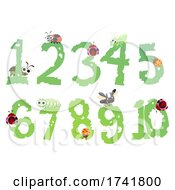 Bugs Leaves Numbers Illustration