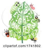 Bugs Leaf Alphabet Illustration