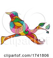 Line Art Bird In Branch Illustration