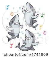 Poster, Art Print Of Sharks Dance Music Notes Illustration