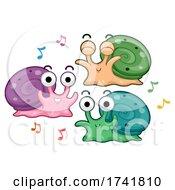 Poster, Art Print Of Snails Dance Music Notes Illustration