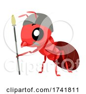 Mascot Soldier Ant Helmet Illustration