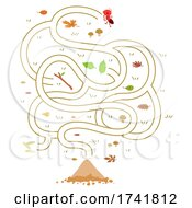 Poster, Art Print Of Mascot Ant Maze Mound Illustration