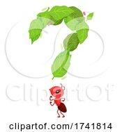 Mascot Ant Question Mark Leaves Illustration