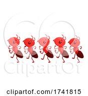 Mascot Ants Marching Forward Illustration