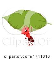 Mascot Ant Carry Leaf Board Illustration