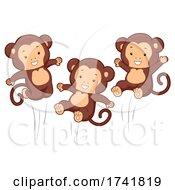Monkeys Jumping Happy Illustration