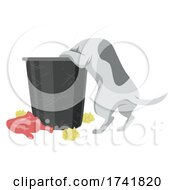 Pet Dog Garbage Bin Illustration
