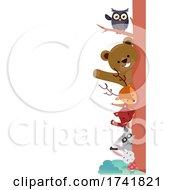 Forest Animals Border Tree Illustration