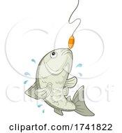 Fish Caught Fishing Rod Illustration