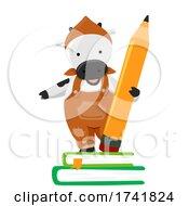 Poster, Art Print Of Farm Animal Cow Pencil Books Illustration
