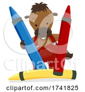 Poster, Art Print Of Farm Horse Crayons Primary Colors Illustration
