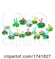 Poster, Art Print Of Frog Pond Happy Birthday Illustration