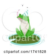 Poster, Art Print Of Frog Pond Birthday Hat Insects Illustration