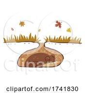 Frog Hibernation Autumn Illustration