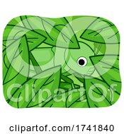 Grasshopper Camouflage Leaves Illustration
