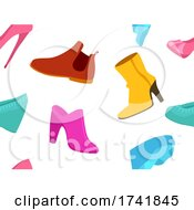 Girl Shoes Seamless Background Illustration