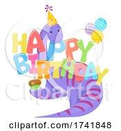 Poster, Art Print Of Dinosaur Happy Birthday Hat Balloons Illustration