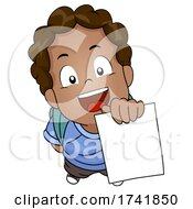 Kid Boy African Showing Test Paper Illustration