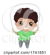 Kid Boy Black Jumping Rope Illustration