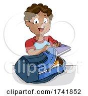 Kid Boy Black Prepare School Bag Illustration