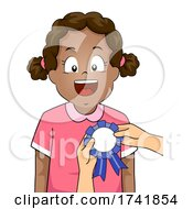 Kid Girl Black Receive Award Ribbon Illustration