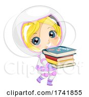 Poster, Art Print Of Kid Girl Astronaut Carry Space Books Illustration