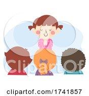Kid Girl Class Prayer Leader Illustration