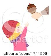 Kid Girl Get Ice Cream Cone Illustration