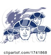 04/18/2021 - American Revolution Patriot Soldier Faces Over A Flag