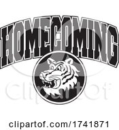 Poster, Art Print Of Black And White Tiger With Homecoming Text