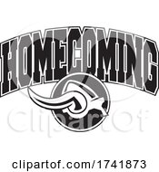 Poster, Art Print Of Black And White Viking Helmet With Homecoming Text