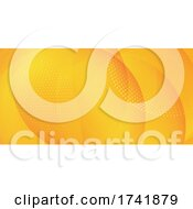 Abstract Banner With Gradient Circle And Halftone Dots Design