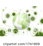 Abstract Background With World Globe And Virus Cells Design