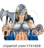 Poster, Art Print Of Viking Trojan Celtic Knight Gamer Warrior Woman