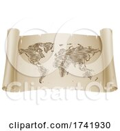 Poster, Art Print Of World Map Drawing Old Woodcut Engraved Scroll
