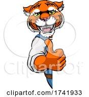 Tiger Mascot Decorator Gardener Handyman Worker