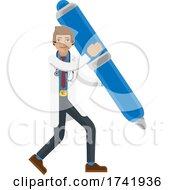Doctor Man Holding Pen Mascot Concept