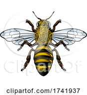 Honey Bumble Bee Vintage Woodcut Engraving Etching