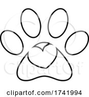 Poster, Art Print Of Dog Paw Print With A Heart