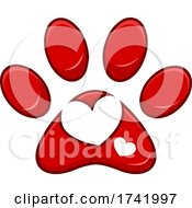 Dog Paw Print With A Heart