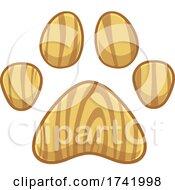 Wood Grain Dog Paw Print