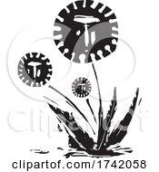 Human Faced Corona Viruses Dandelion Plant